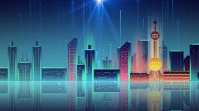 梦幻上海城市夜景走屏LED背景视频素材