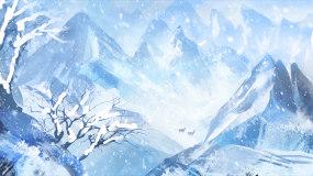 梦幻唯美冬季下雪雪景背景视频视频素材