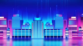 梦幻唯美城市走屏LED背景视频视频素材