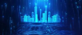 宽屏蓝色数字芯片科技城市LED动背视频素材