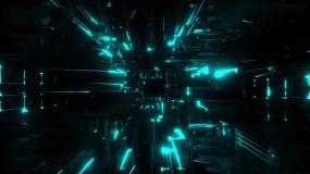 蓝色粒子光线空间穿梭视频背景视频素材