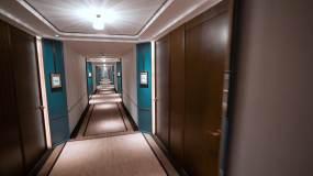 4K五星级酒店客房走廊移动运动空镜视频素材