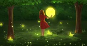浪漫中秋节拥抱月亮的女孩视频素材包
