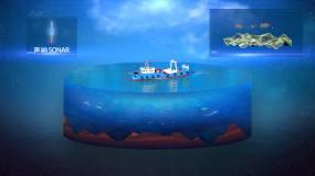 海洋渔业科研剖面图视频素材