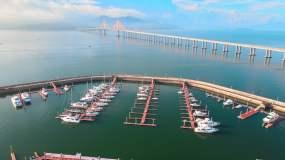 【4K】航拍港口游艇海湾大桥风景视频素材