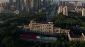 武汉高校华科大清晨4K航拍素材视频素材