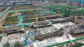航拍房地产项目施工现场带延时_2160p视频素材