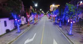 温泉小镇夜晚夜景灯光小城电力视频素材