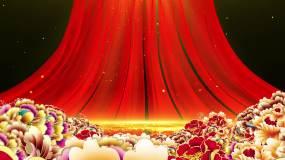 党政红绸背景无缝循环视频素材