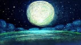 月亮和星空歌曲舞台背景视频素材