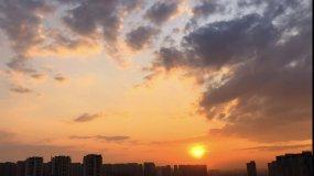 城市落日、夕阳黄昏、落日、太阳西下视频素材