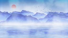 4K水墨远山古风背景循环视频素材