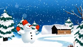 唯美梦幻卡通雪景背景视频素材