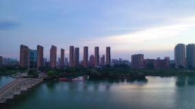 航拍西双湖风景夏日晚霞视频素材