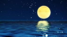 4k中秋背景海上明月视频素材