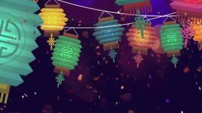 彩色的灯笼节日气氛视频背景视频素材