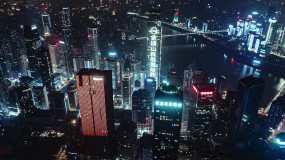 重庆航拍夜景赛博朋克城市视频素材