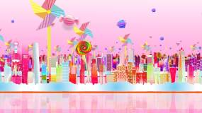 粉色浪漫儿童卡通城市舞台场景背景音乐素材视频素材
