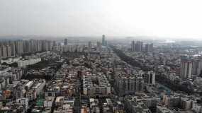 高清航拍城市清晨视频素材