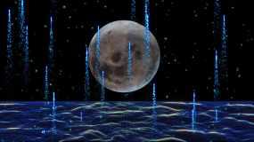 4K浪漫唯美满月粒子海洋背景视频素材