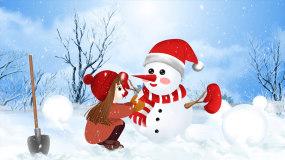 梦幻冬季下雪堆雪人背景视频视频素材