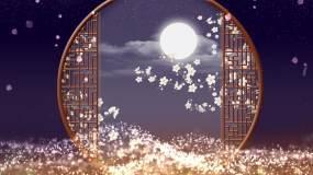 唯美国风中秋圆月舞台背景之一视频素材