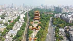 4K航拍武汉黄鹤楼古建筑江南三大名楼之一视频素材