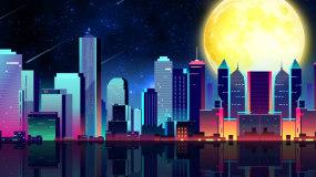 梦幻城市星空流行走屏背景视频素材