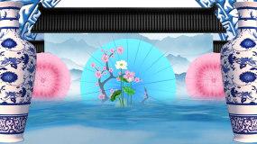 青花瓷山水画水面荷花背景视频视频素材