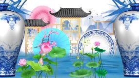 中国风青花瓷古典山水画LED背景视频视频素材