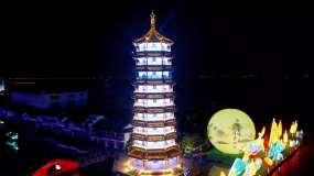 江南古镇夕阳和夜景航拍视频素材