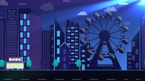 蓝色城市之夜摩天轮背景视频视频素材