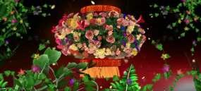 花团锦簇和谐大家庭舞台背景视频素材