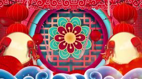 中国风红色喜庆灯笼锣鼓开场舞LED视频视频素材