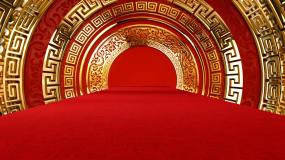 中国风金色圆环喜庆舞台背景视频素材