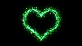 绿色心形粒子爱情背景视频素材