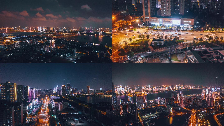 4K超高清武汉夜景车流长江两岸灯光秀航拍