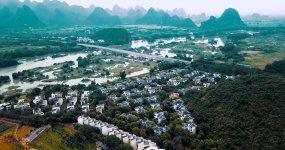 桂林水印长廊高端别墅群航拍4k最新调色版视频素材