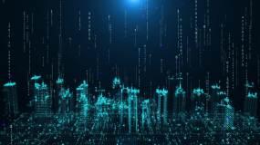 二进制数字信息流上升科技智慧城市高楼背景视频素材