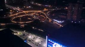 夜景航拍延时有节奏的西安西三环三桥立交视频素材