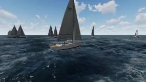 蓝天大海帆船队三维制作视频素材