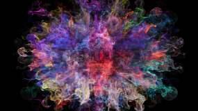 绚丽彩色粒子粉末爆炸五彩烟雾流体粉尘炸开视频素材