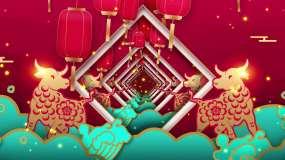 2021牛年喜庆中国红大背景视频素材