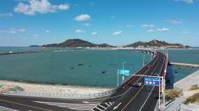 长岛联岛大桥航拍视频素材