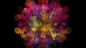 红色粒子粉末爆炸彩色粒子流体特效彩妆广告视频素材
