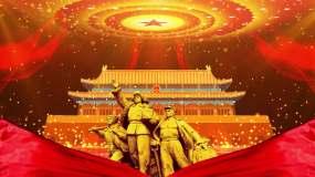 4K震撼大气粒子红绸党政背景视频素材