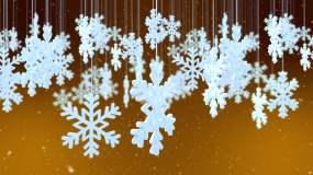 白色雪花-金色背景视频素材
