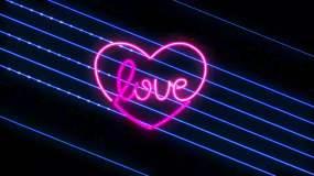霓虹灯心型浪漫背景视频素材