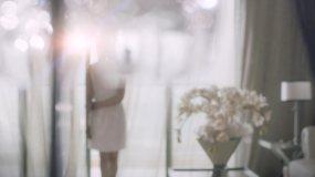 唯美走向窗户窗帘纱窗窗户视频素材