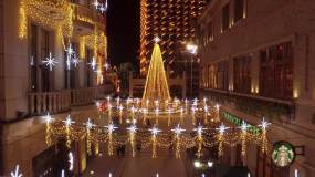 圣诞节武汉楚河汉街唯美航拍视频素材